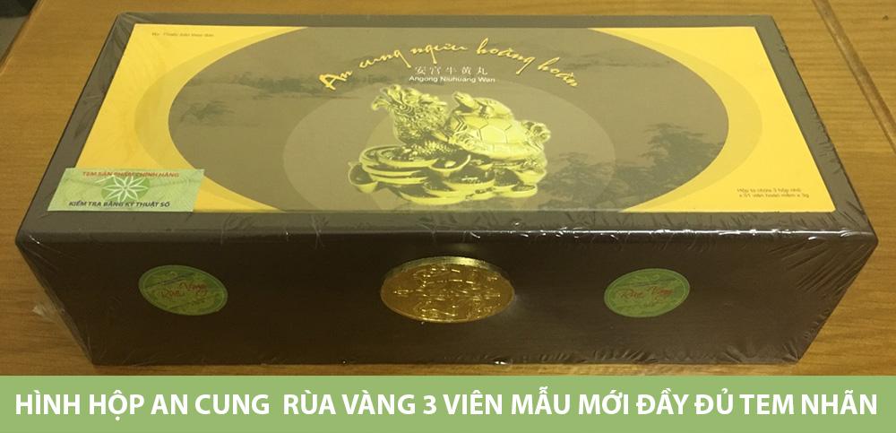 Hình hộp An cung  Rùa vàng 3 viên mẫu mới đầy đủ Tem nhãn